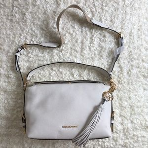Michael Kors Brooke Medium White Leather Satchel